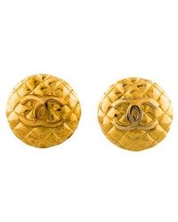 Chanel - Quilted Cc Clip-on Earrings Gold - Lyst