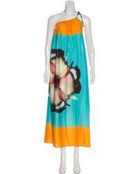 Clover Canyon - One-shoulder Floral Print Dress W/ Tags Aqua - Lyst