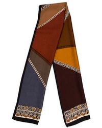 Adrienne Landau - Silk Printed Scarf Brown - Lyst