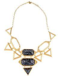 Isharya - Obsidian Croc Statement Necklace Yellow - Lyst