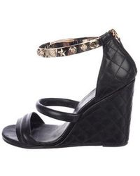 Chanel - Lucky Charms Wedge Sandals Black - Lyst