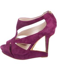 Dior - Suede Cut-out Wedges Violet - Lyst