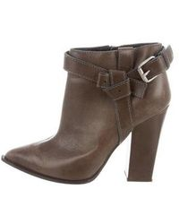 Thakoon - Leather Pointed-toe Ankle Boots Olive - Lyst