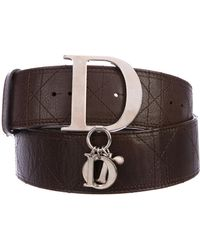 Dior - Cannage Leather Belt Silver - Lyst