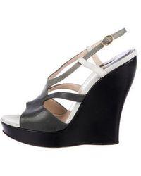 Paul Andrew - Leather Platform Sandals Grey - Lyst