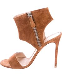 Gianvito Rossi - Suede Ankle Cuff Sandals Cognac - Lyst