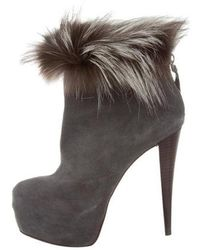 Alice + Olivia - Fur-trimmed Ankle Boots Grey - Lyst