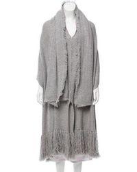Thakoon - Fringe-trimmed Wool Poncho Grey - Lyst