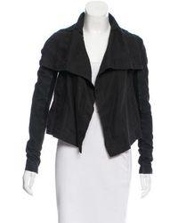 VEDA - Leather Paneled Draped Jacket - Lyst