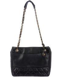 aa921eee32df Lyst - Chanel Drawstring Cc Lock Bucket Bag Quilted Lambskin Medium