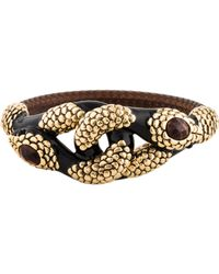 Roberto Cavalli - Tiger's Eye Dual Serpent Embellished Bangle Gold - Lyst