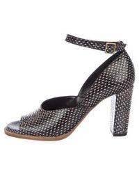 7cf9164ba56 Dries Van Noten - Embossed Leather Ankle Strap Pumps Black - Lyst