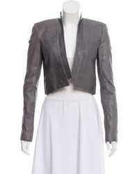Wes Gordon - Cropped Open Front Jacket Grey - Lyst