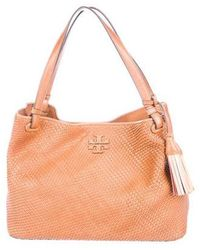 3ce6f5d30c9 Lyst - Tory Burch Thea Leather Foldover Crossbody Bag Pink in Metallic
