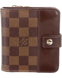 Louis Vuitton - Damier Ebene Compact Wallet Brown - Lyst