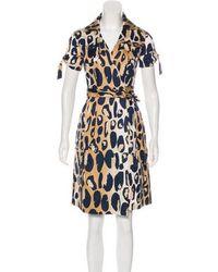94961265bf7 Lyst - Diane Von Furstenberg Short Sleeve Midi Dress in Brown