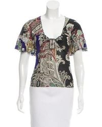 Just Cavalli - Printed Ruffle-accented Top Multicolor - Lyst