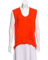 Kimberly Ovitz - Sleeveless Slit-accented Blouse Orange - Lyst
