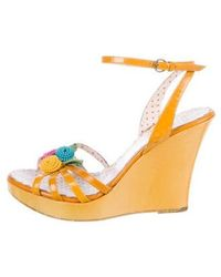 Boutique Moschino - Patent Leather Platform Wedges Multicolor - Lyst
