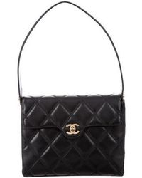 1a56596a4c26d6 Lyst - Chanel Quilted Crossbody Flap Bag Black in Metallic
