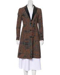 Etro - Printed Knee-length Coat Brown - Lyst