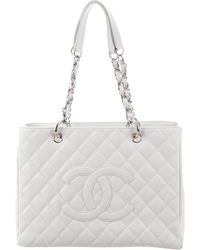 0501f2d4acf978 Lyst - Chanel Caviar Grand Shopping Tote Beige in Metallic