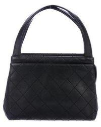 0e85f721acca Lyst - Chanel Lambskin Diamond Cc Bowler Bag Black in Metallic