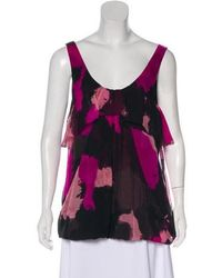 1d5070b8d393f Lyst - Diane Von Furstenberg Silk Sleeveless Top in Green