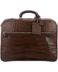 Valextra - Alligator Briefcase Silver - Lyst