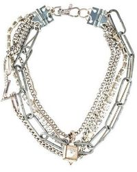 Giles & Brother - Crystal Multistrand Necklace Silver - Lyst