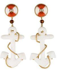 Helen Yarmak International - 18k Coral, Quartzite & Multistone Anchor Drop Earrings Yellow - Lyst