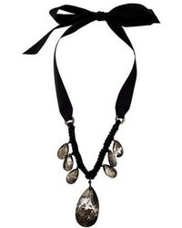 Lanvin - Glass Crystal & Ribbon Collar Necklace Silver - Lyst