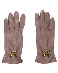 Boutique Moschino - Leather Bow-accented Gloves Gold - Lyst