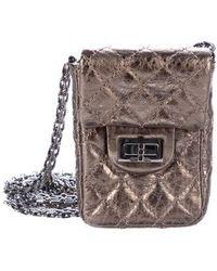 73791a51fdfc Lyst - Chanel Anniversary 2.55 Reissue Crossbody Phone Holder Grey ...