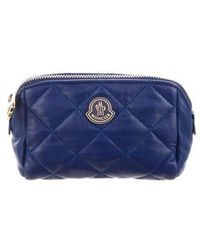 Moncler - Quilted Leather Cosmetic Bag Gold - Lyst