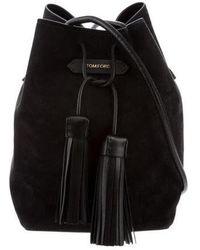 Tom Ford - Suede Double Tassel Bucket Bag Black - Lyst
