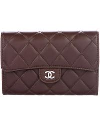 02b306427d80 Lyst - Chanel Quilted Lambskin Key Pouch Black in Metallic