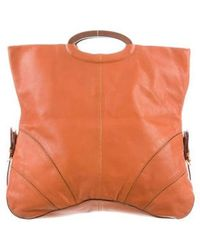 Sergio Rossi - Leather Fold-over Tote Gold - Lyst