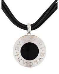 bvlgari reversible onyx pendant necklace yellow lyst