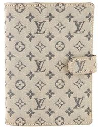 Louis Vuitton - Mini Lin Small Ring Agenda Cover Navy - Lyst