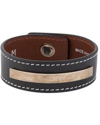 Givenchy - Leather Cuff Bracelet Silver - Lyst