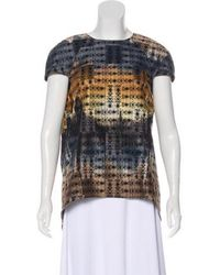 Wes Gordon - Short Sleeve Printed Top Blue - Lyst