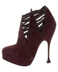 Brian Atwood - Suede Platform Booties - Lyst