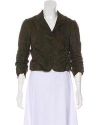 Donna Karan - Suede Ruched Jacket Olive - Lyst