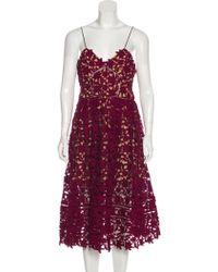 1f26bbceea06f Self-Portrait - Lace Midi Dress W/ Tags Burgundy - Lyst