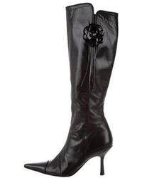 Chanel - Camellia Knee-high Boots Black - Lyst