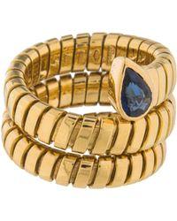 bvlgari 18k sapphire serpenti tubogas wrap ring yellow lyst