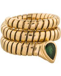 bvlgari 18k tourmaline serpenti tubogas ring yellow lyst