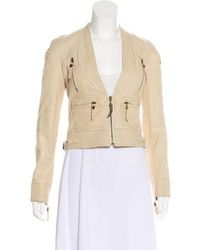Just Cavalli - Leather Collarless Jacket Neutrals - Lyst