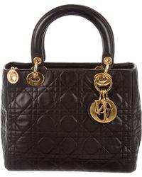 9f1e374f266f Lyst - Dior Suede Medium Lady Bag Silver in Metallic
